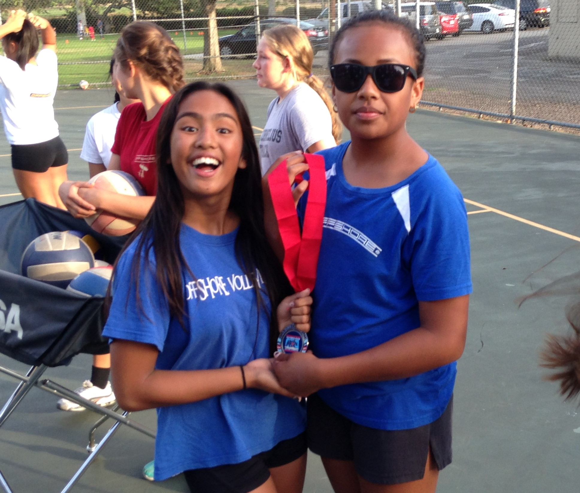 Victoria Verceles (left) and Olivia Muriel (right) showing off their beachhardware