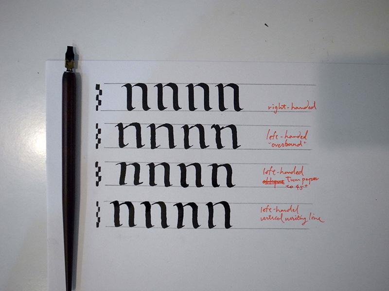 右手寫法與三種不同的左手寫法