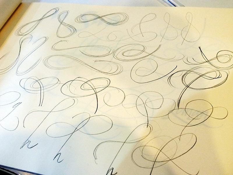以鉛筆練習 Flourish 的筆畫走勢