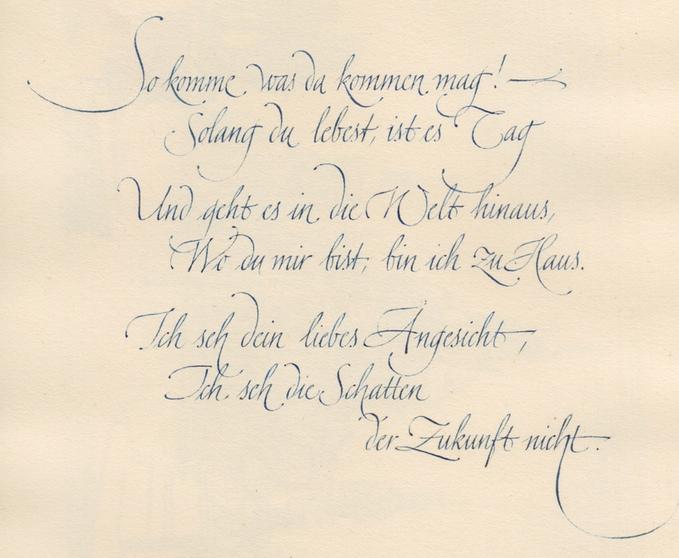 第二本素描本中於1942年的書寫作品,帶有後來 Zapfino 的韻味©The Kelly-Winterton Press
