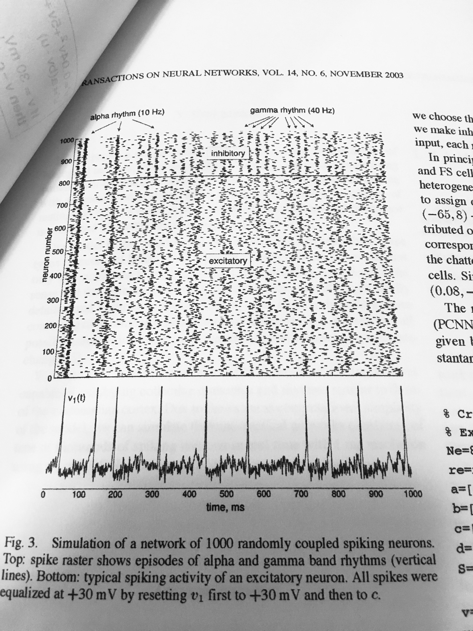 A firing event on one of the neurons causes a dot to appear on this graph: In cortical songs, this causes a light to flash on the corresponding musician's music.