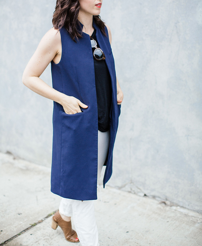long sleeveless blazer outfit