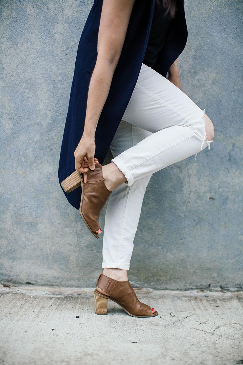 long blazer work attire sleeveless