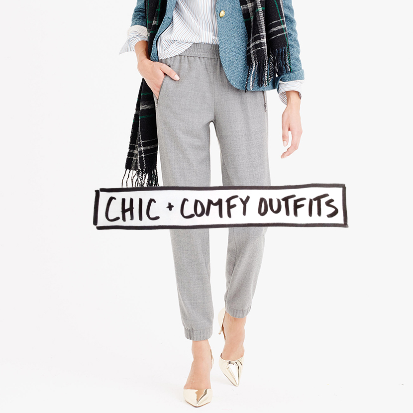 comfy chic outfit how to wear elastic pants