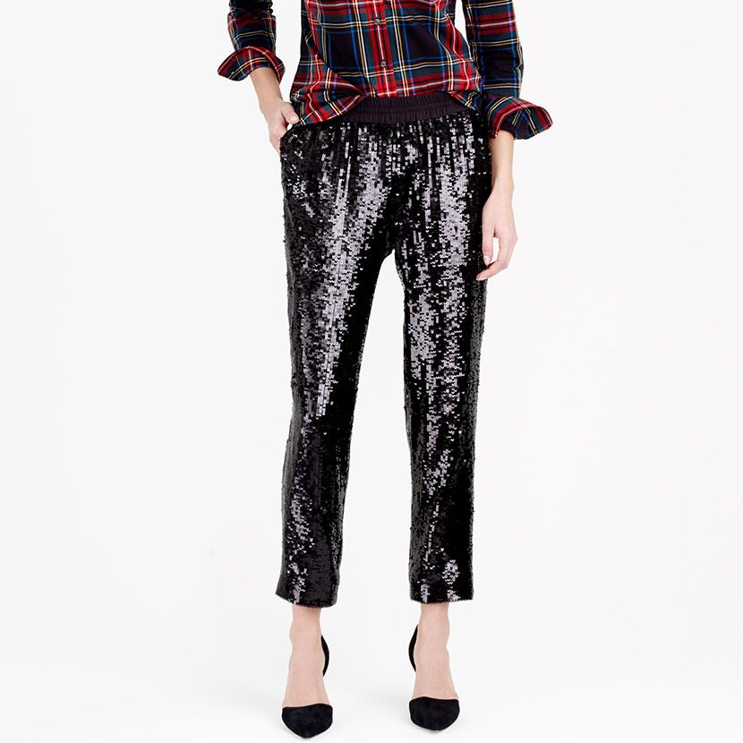 sequins elastic pants how to wear holiday outfit