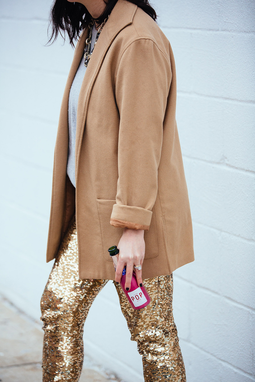 sequin party pants holiday outfit