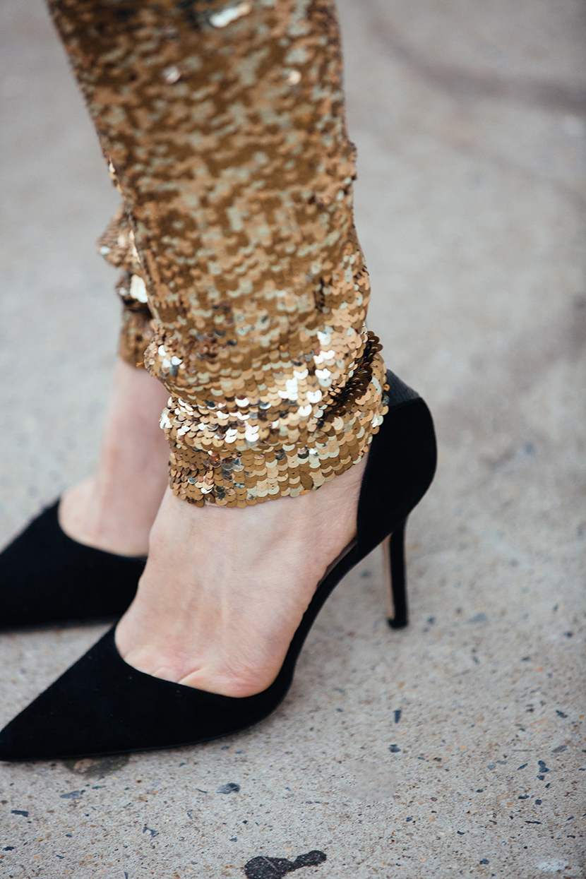 sequin pants holiday outfit