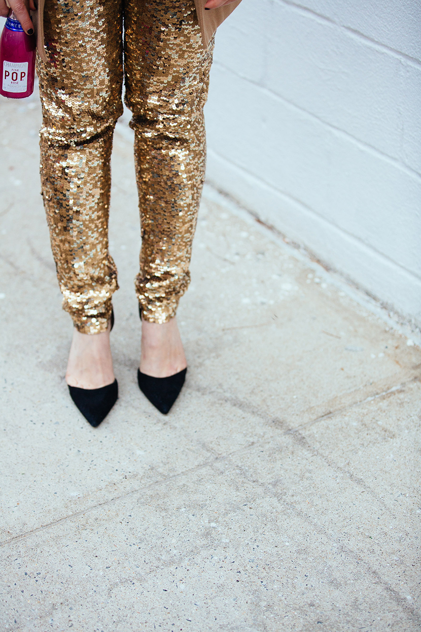 sequin pants outfit holiday fashion