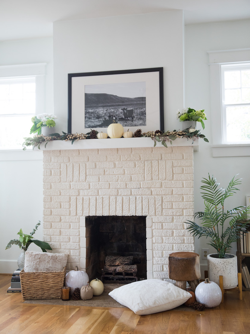 fall harvest fireplace decoration