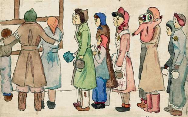 Drawing by Helga Hošková-Weissová of life in Terezin