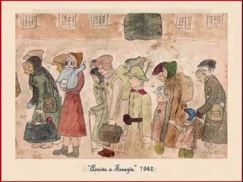 Drawing by Helga Hošková-Weissová of arrival in Terezin