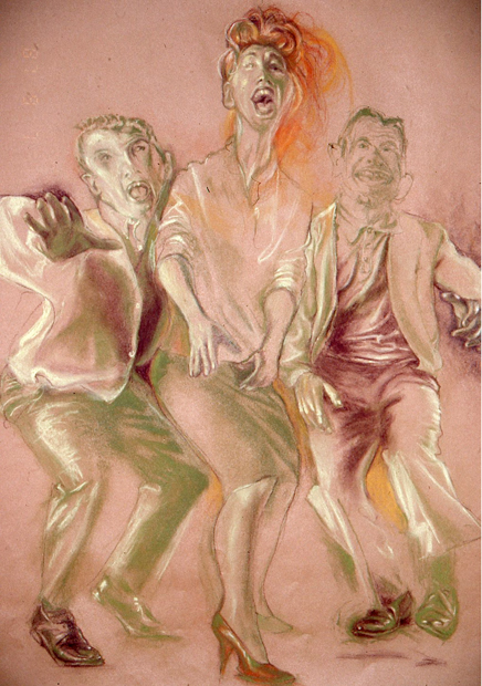 """The Act, 24""""x218"""", conte crayon on paper, 2008"""