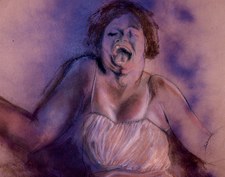 "Purple Smoke, 24""x18"", conte crayon on paper, 2008"