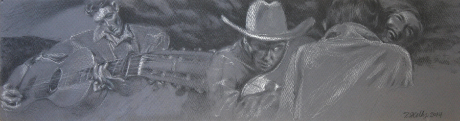 "Oklahoma Romance  – pencil on paper,  6"" x 22-1/2""  2014"