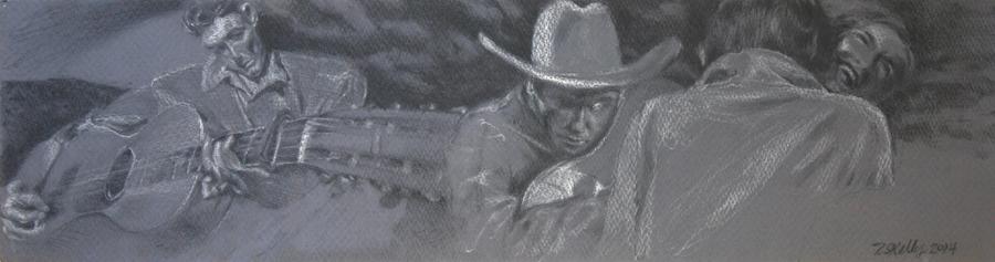"Oklahoma Romance  – pencil on paper, 6"" x 22-1/2"" 2014"