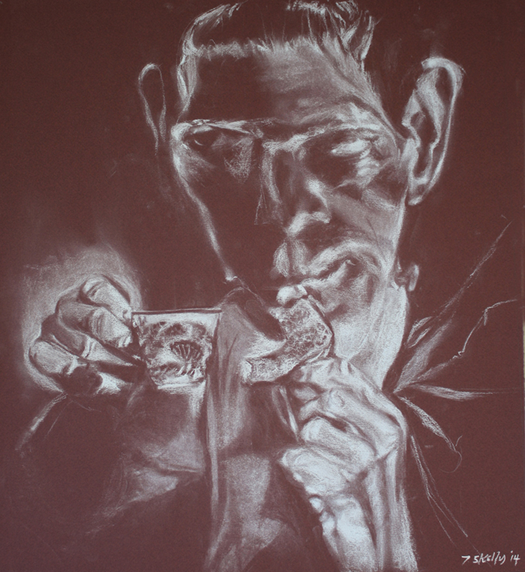 """Frankenstein with Tea and Toast  – conte on paper, 18"""" x 20"""" 2014"""