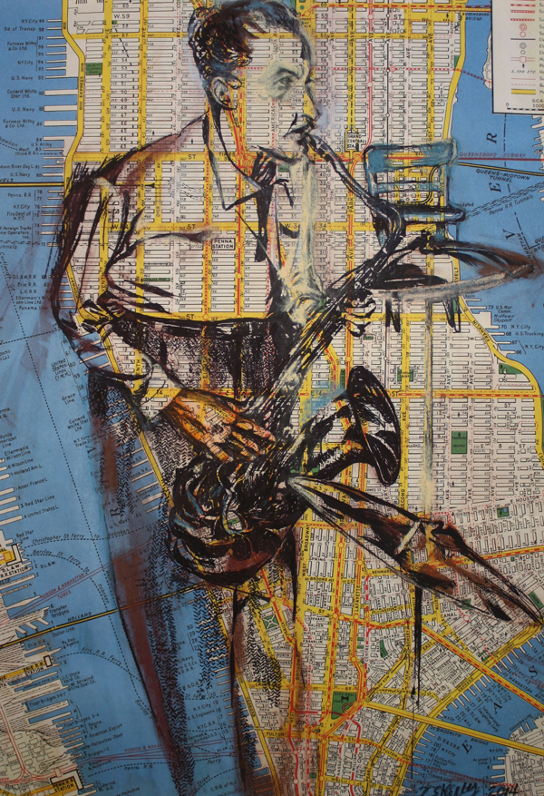 """Downtown Smear  – conte and ink on map, 15"""" x 20"""" 2014"""