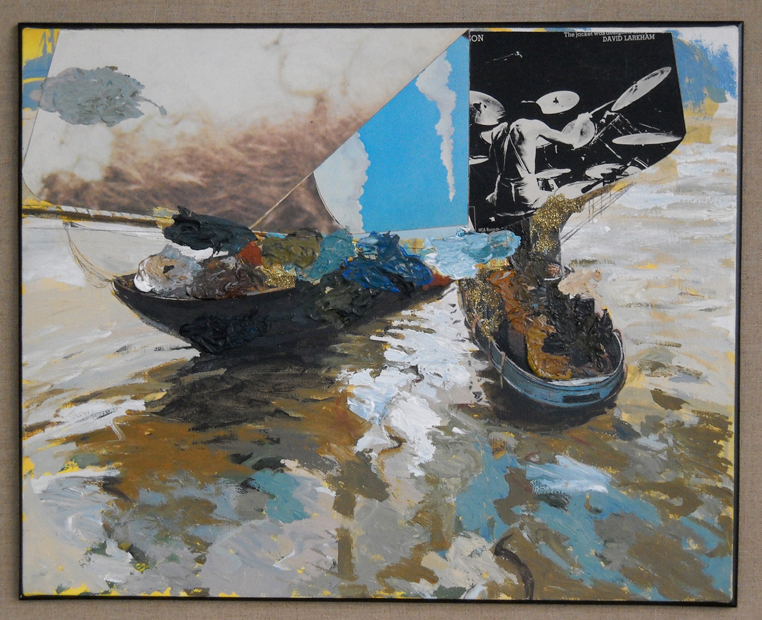 "Pirate Boats, 24""x20"", acrylic & album covers on canvas, 2010"
