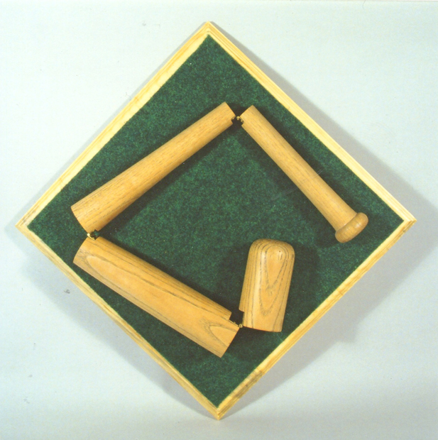 "Switch Hitter, 16""x16"", baseball bat, felt & wood, 2007"