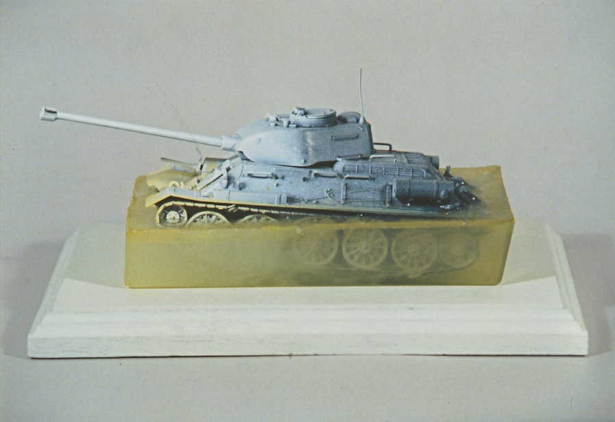 "End of the Cold War, 12""x4""x6"", model tank, resin & wood, 2007"