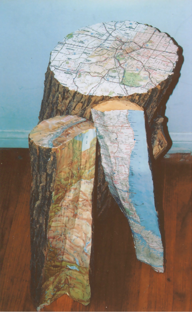"Travel Logs, 14""x24"" 14"", logs and maps, 2007"