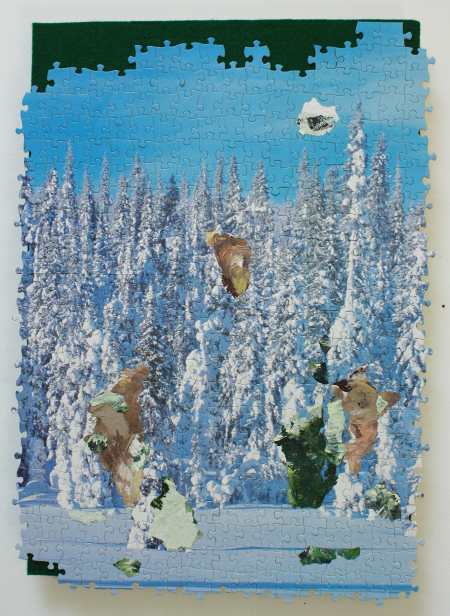 "Winter in a Box 3, jigsaw puzzle, acrylic paint, felt, 13"" x 18"", 2014"