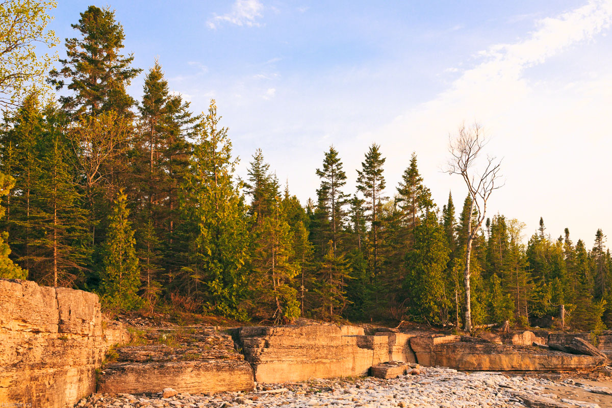 manitoulin-island-ontario-canada-providence-bay-rocky-shore-forest-sunset-golden-hour