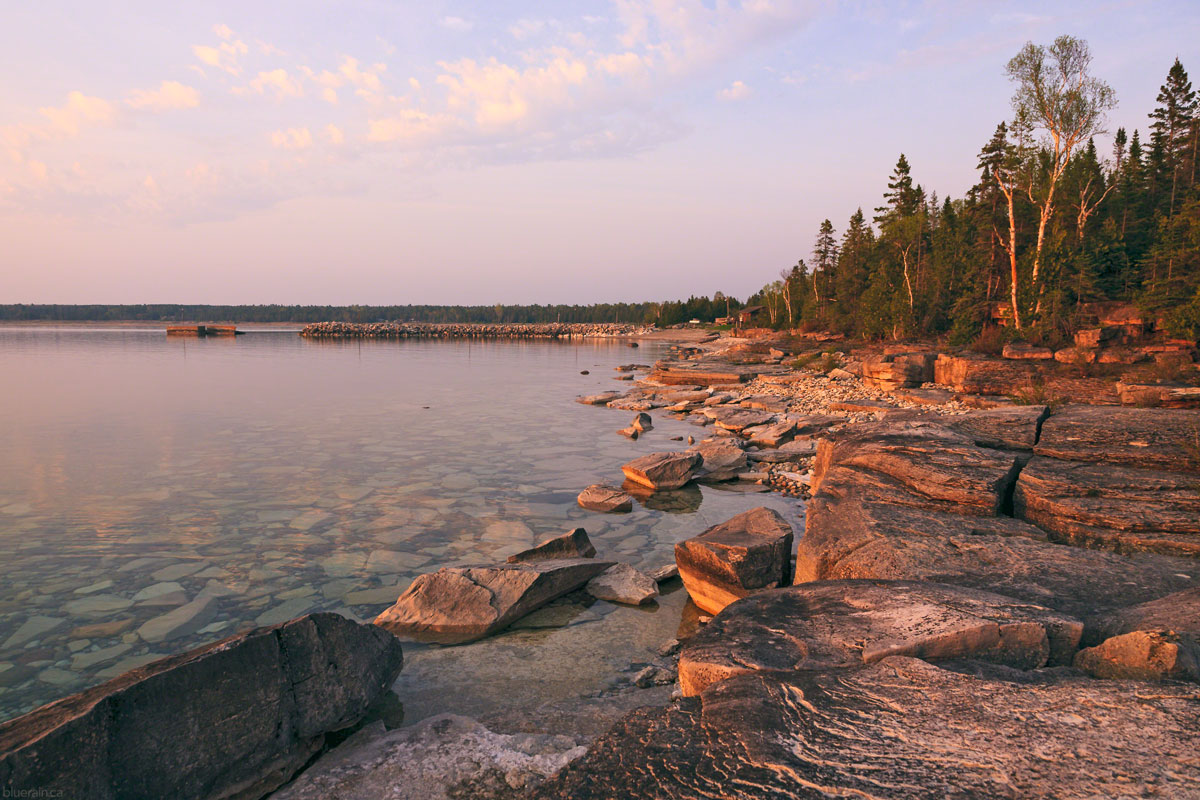 manitoulin-island-ontario-canada-providence-bay-sunset-golden-hour-rocky-shore-forest-spring