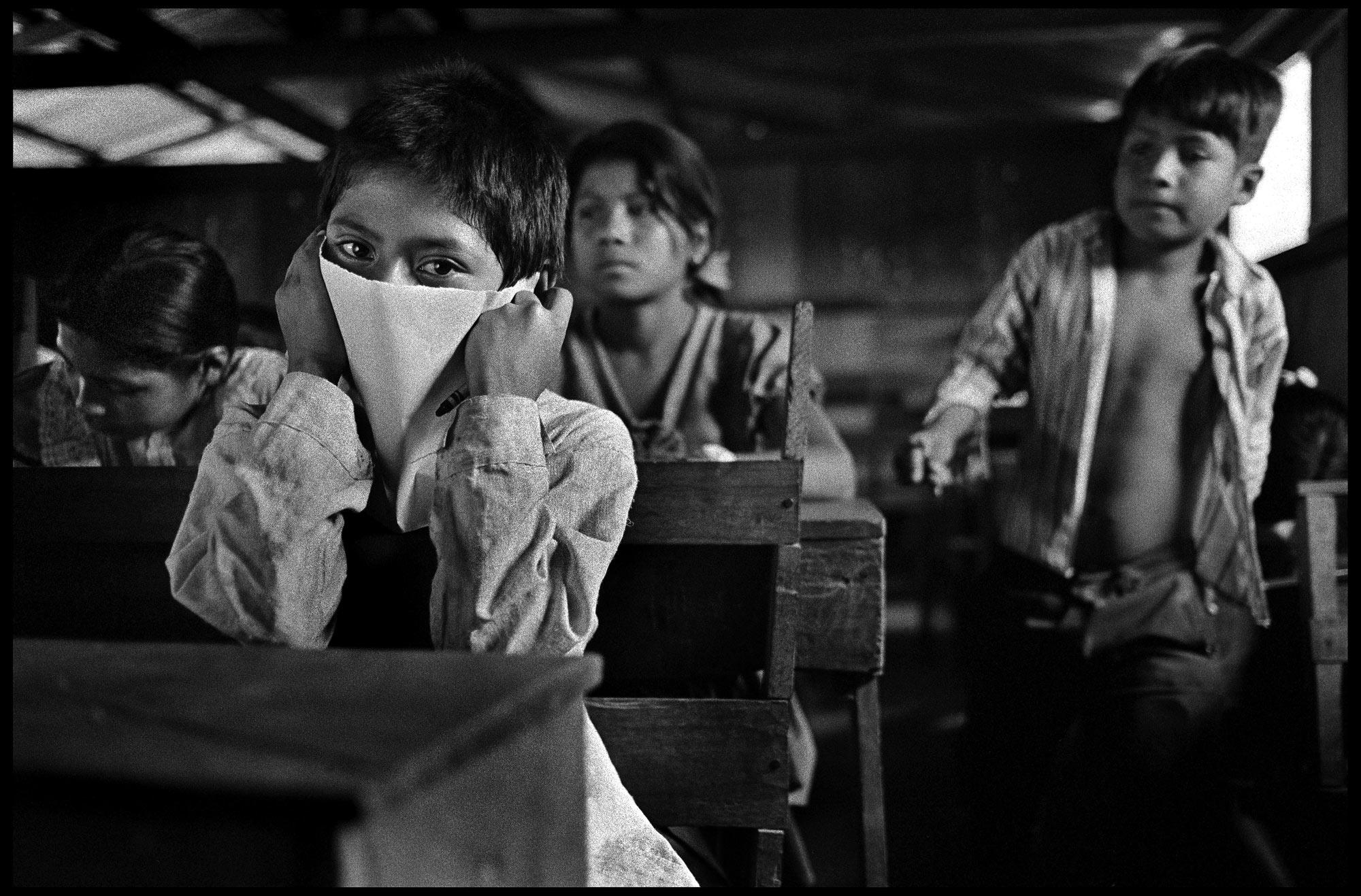 School children show support for Zapatista rebels, Chiapas, Mexico