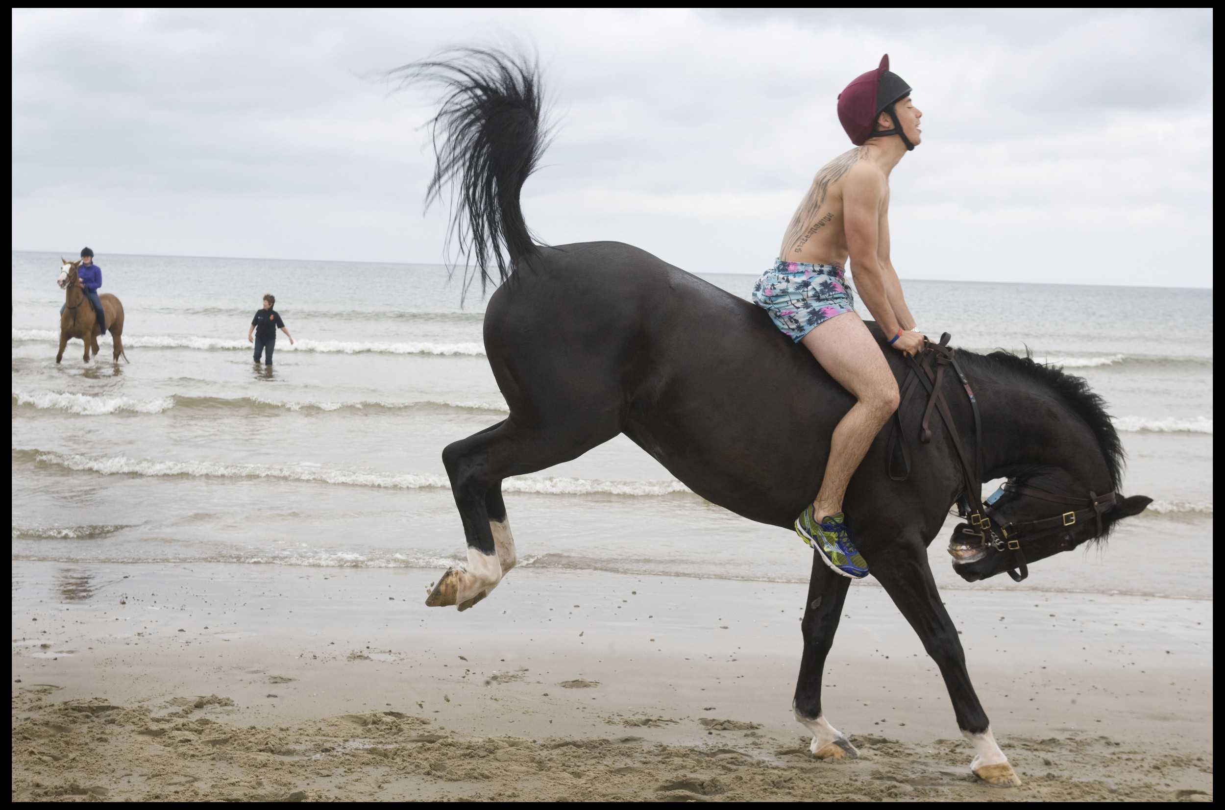 The Household Cavalry enjoy some relaxation on Holkham Beach, Norfolk