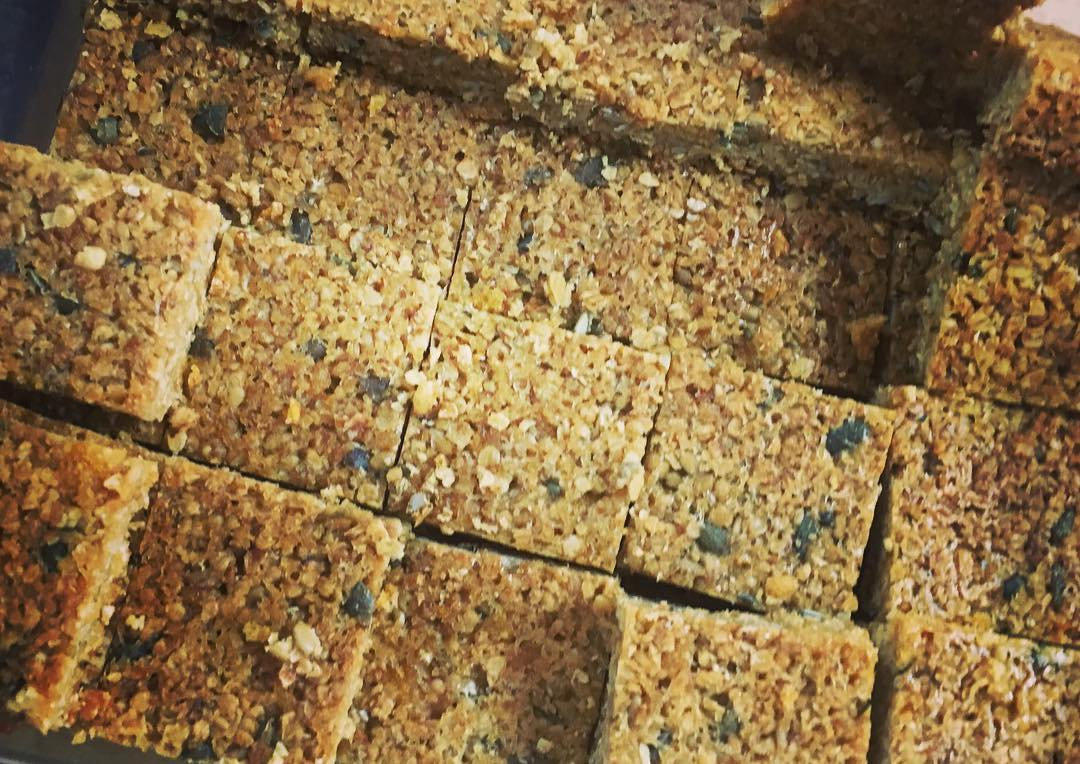 New flapjack testing - half the sugar of the old recipe with added sunflower and pumpkin seeds🌻. I've had three just to thoroughly check them #nurseryfood #nutritionist #chieftaster @sarahwestnutrion, of Zebedees - Instagram