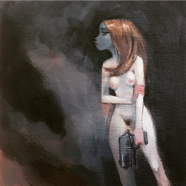 """The Wretched Week"" 7""x 7"" #girl #gun #muse #melodrama #naked #devil #detroit #scifi #exploitation"