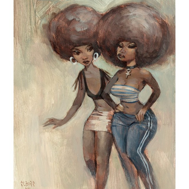 "NEW print at: glbarr.com ""Rumors"" edition of 50 #new #girls #detroit #girlfriends #afros #city #melodrama #muse"