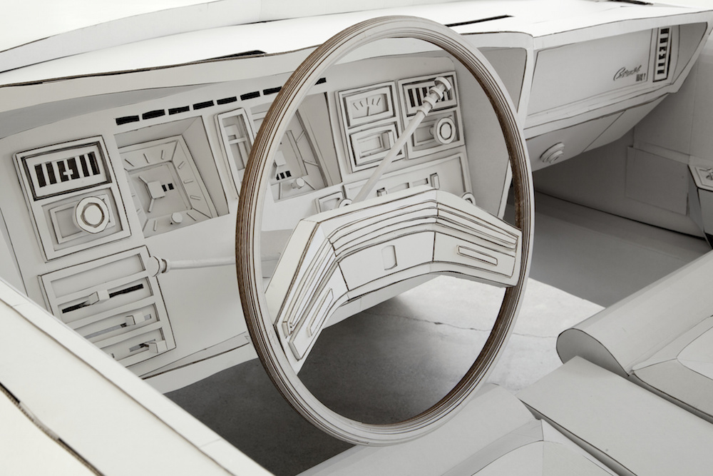 Shannon Goff,  Miles to Empty , 2015. View of driver's seat and dashboard. Photo: P.D. Rearick.