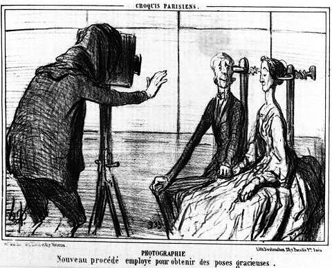 "Daumier's satire on ""Photography: the new procedure for capturing graceful poses"""