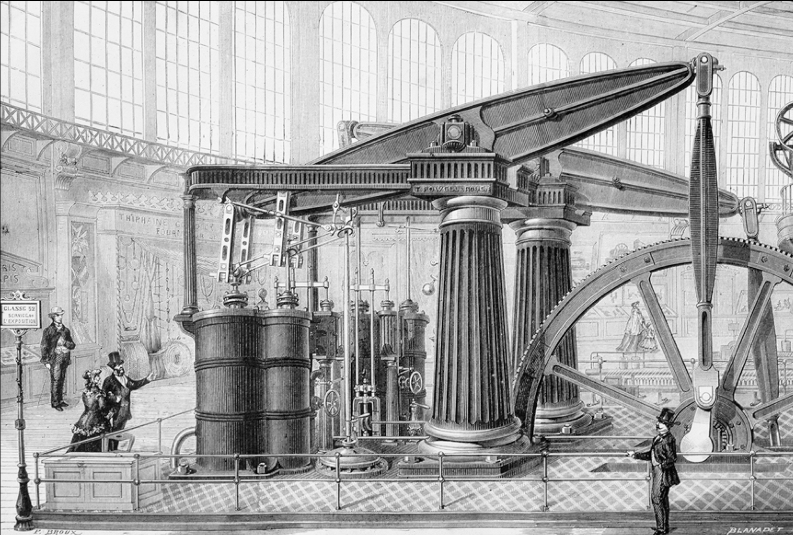 Industrialists still labored under a sense of inferiority to the fine arts, as seen in this attempt to dress up a machine with fluted Doric columns.