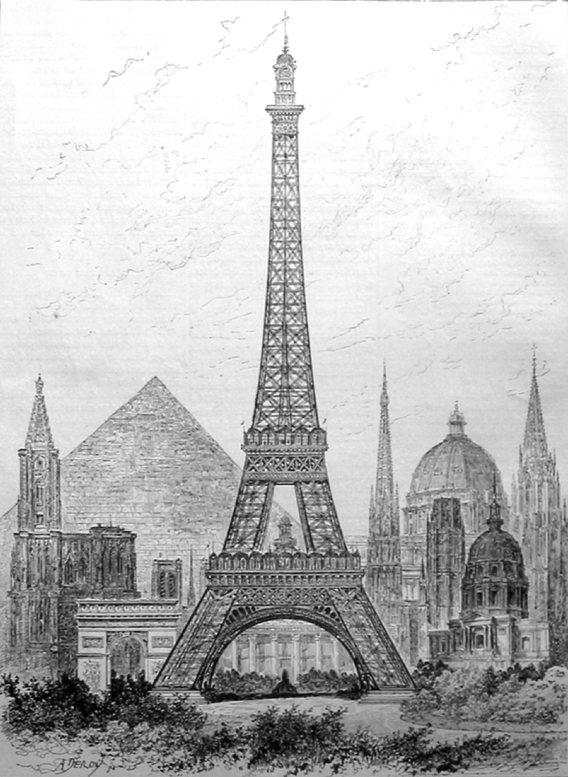 The Eiffel Tower tops them all: a comparison with the world's tallest structures: Strasbourg Cathedral on the far left, Cologne Cathedral on the far right