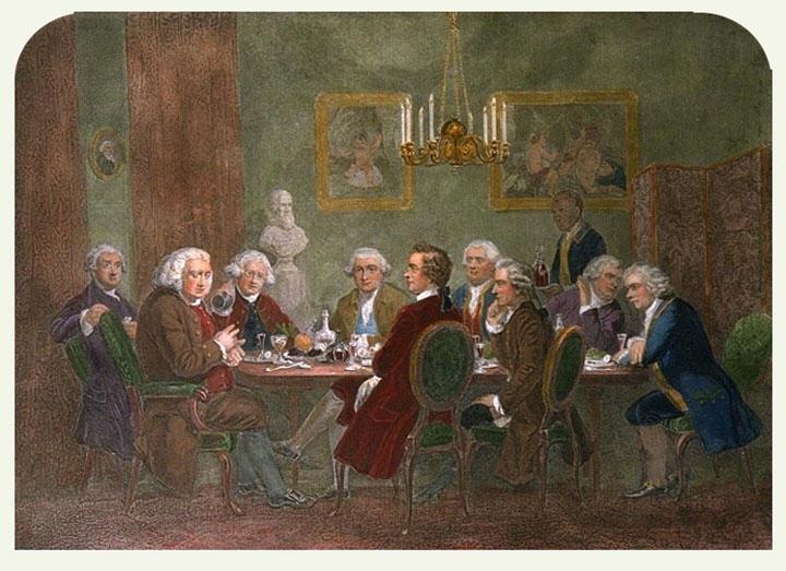 Samuel Johnson's Club. From the left: Boswell, Johnson, Reynolds, Garrick, Burke, Paoli, Burney, Wharton, Goldsmith