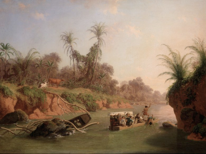 Later, Nahl turned some of his sketches into oil painting, as in this  Incident on the Chagres River  (1850)