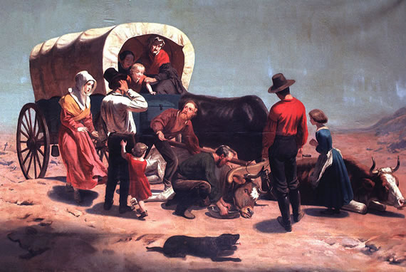 """Working in Sacramento and San Francisco, Nahl also turned the tales of overland travelers into canvases depicting the hardships of the passage. Here, a family to the gold fields has just lost the team that was to carry them across """"The Great American Desert."""""""