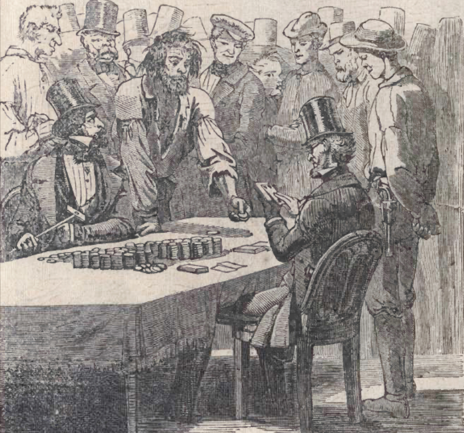 The idle miner loses all his money at the gambling tables.