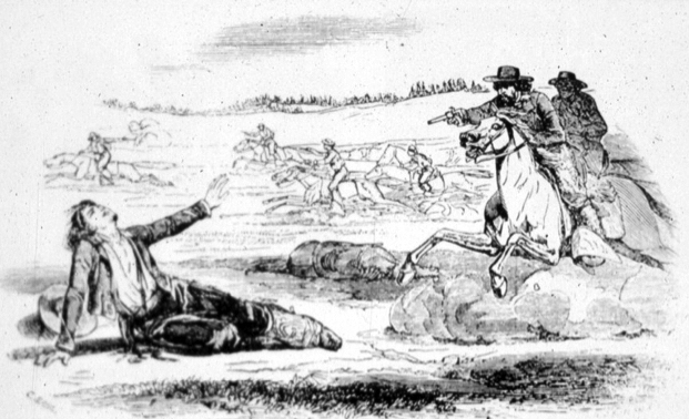 """""""The Death of Murieta"""" -- newspaper illustration by Nahl, 1853"""