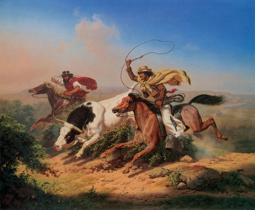 Vaqueros Roping a Steer, 1866