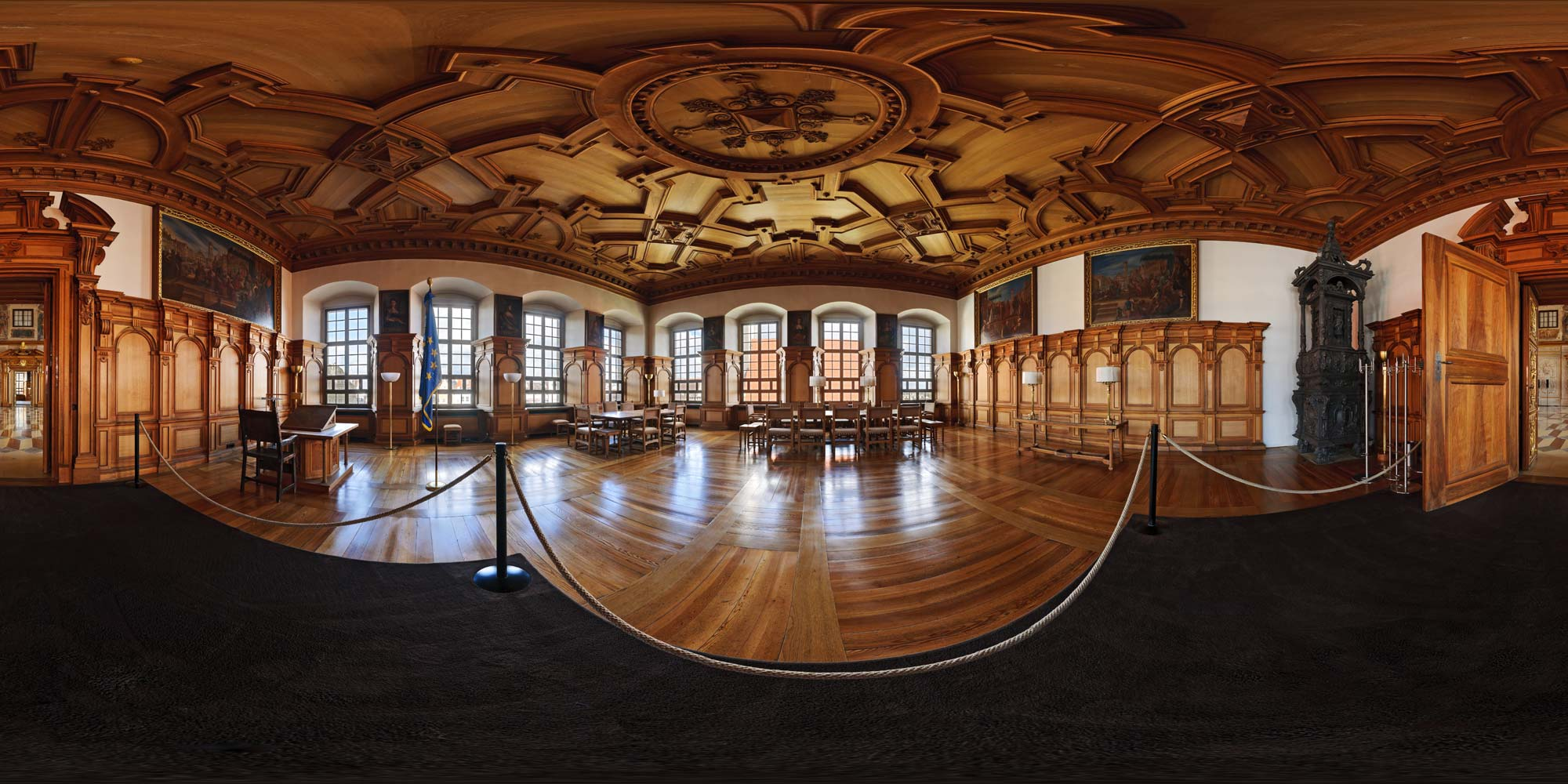 """Wide-angle view of the restored""""Prince's Room"""" -- originally used to house distinguished guests of the town council (photo by Kubische Panoramen)"""
