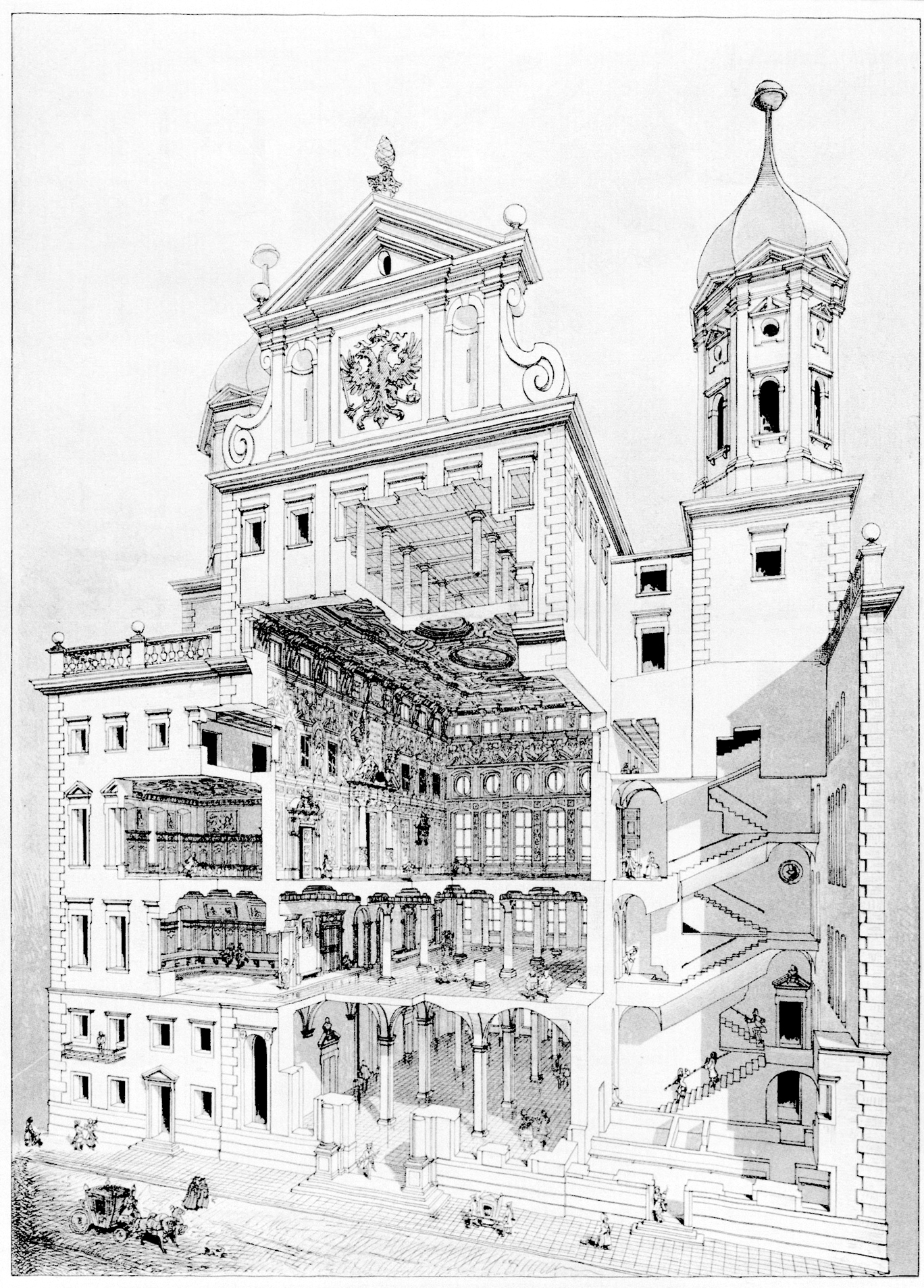 Perspective drawing of Augsburg city hall by Theodor Fischer, 1886