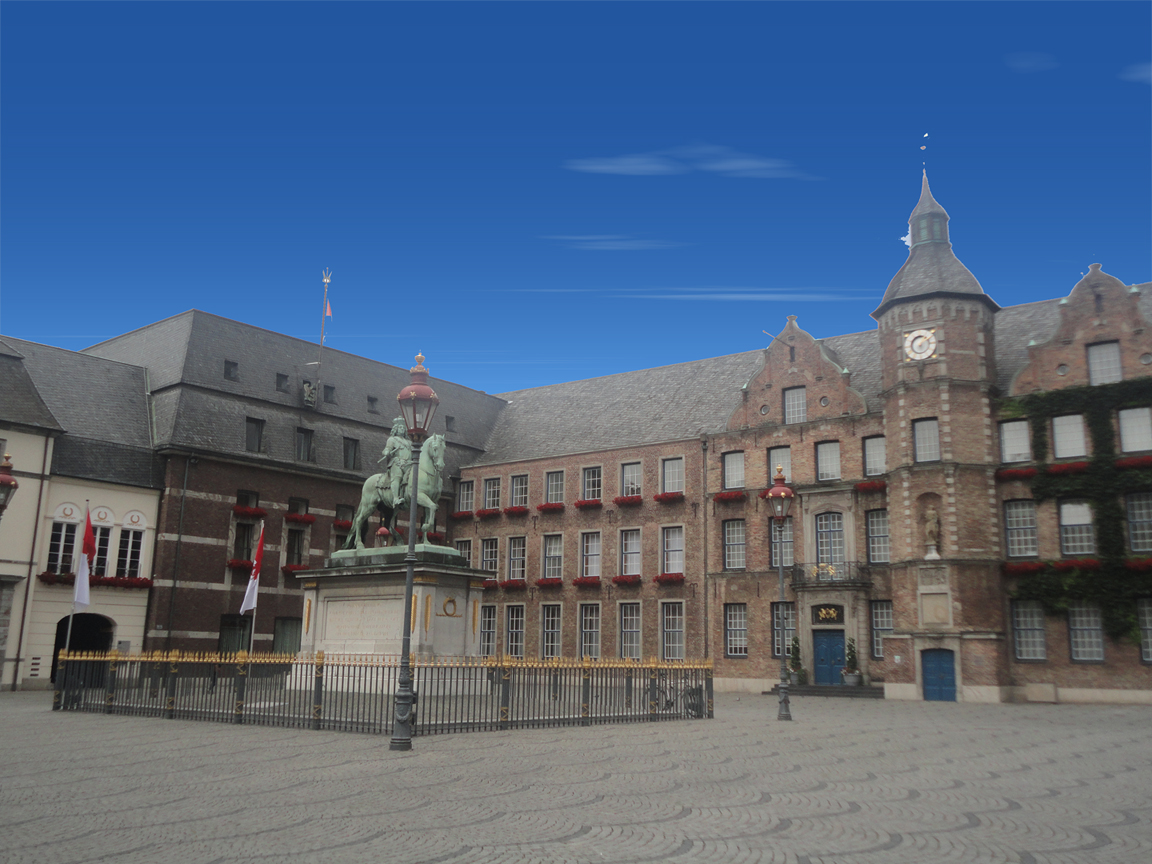 Düsseldorf city hall and town square with Jan Wellem statue
