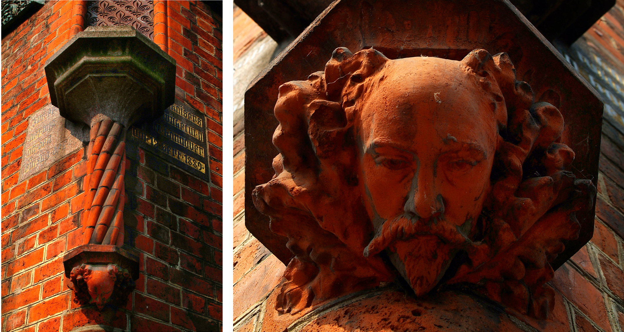 Detail with sculptured head ofConrad Wilhelm Hase, architect of the renovated old city hall,m 1877-1891