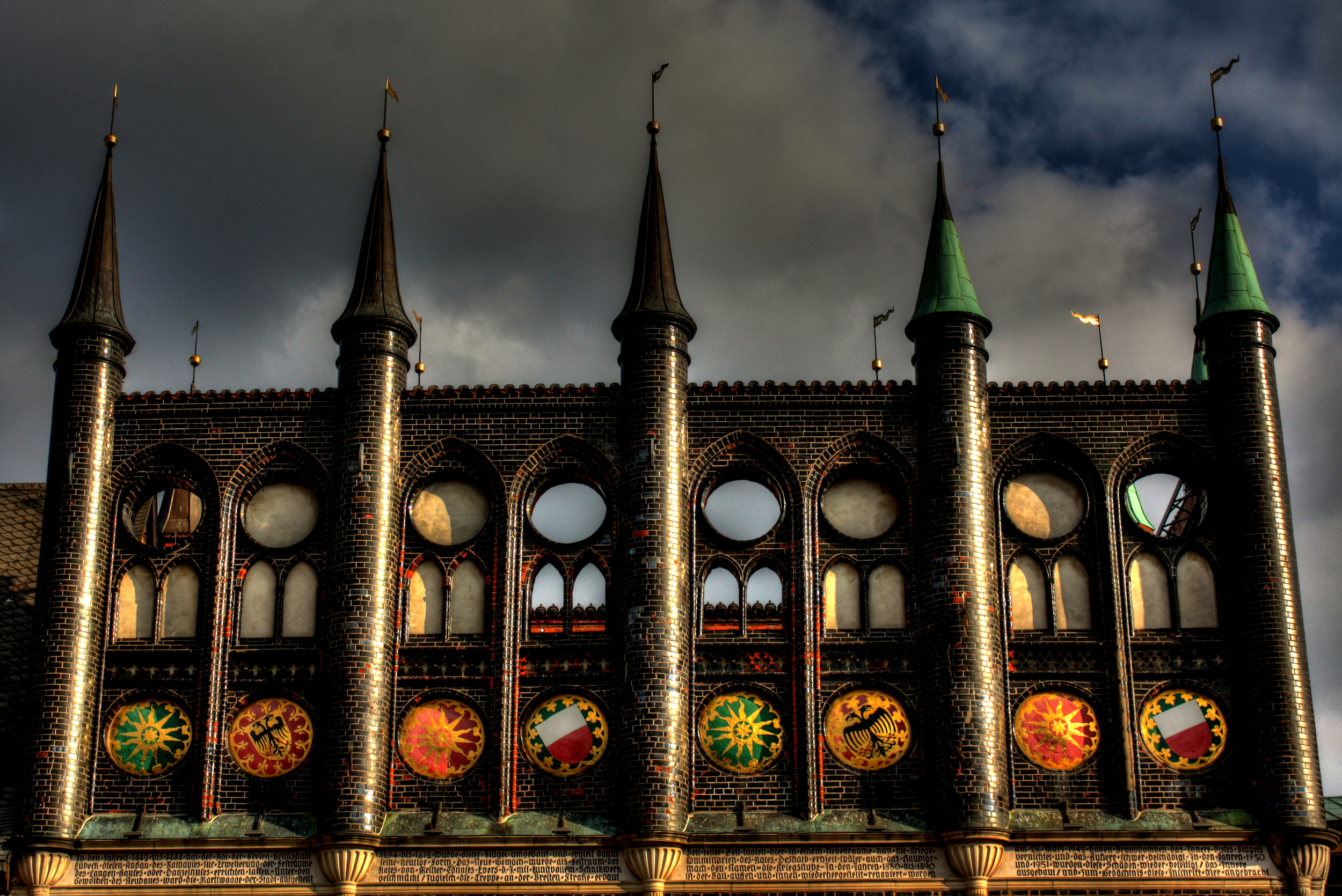 Dramatic HDR image of the towers and shields (photo by Square Eyes)