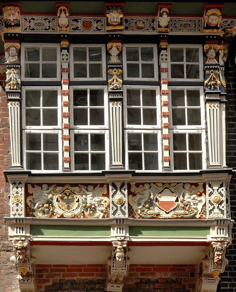 Decorated oriel and balcony