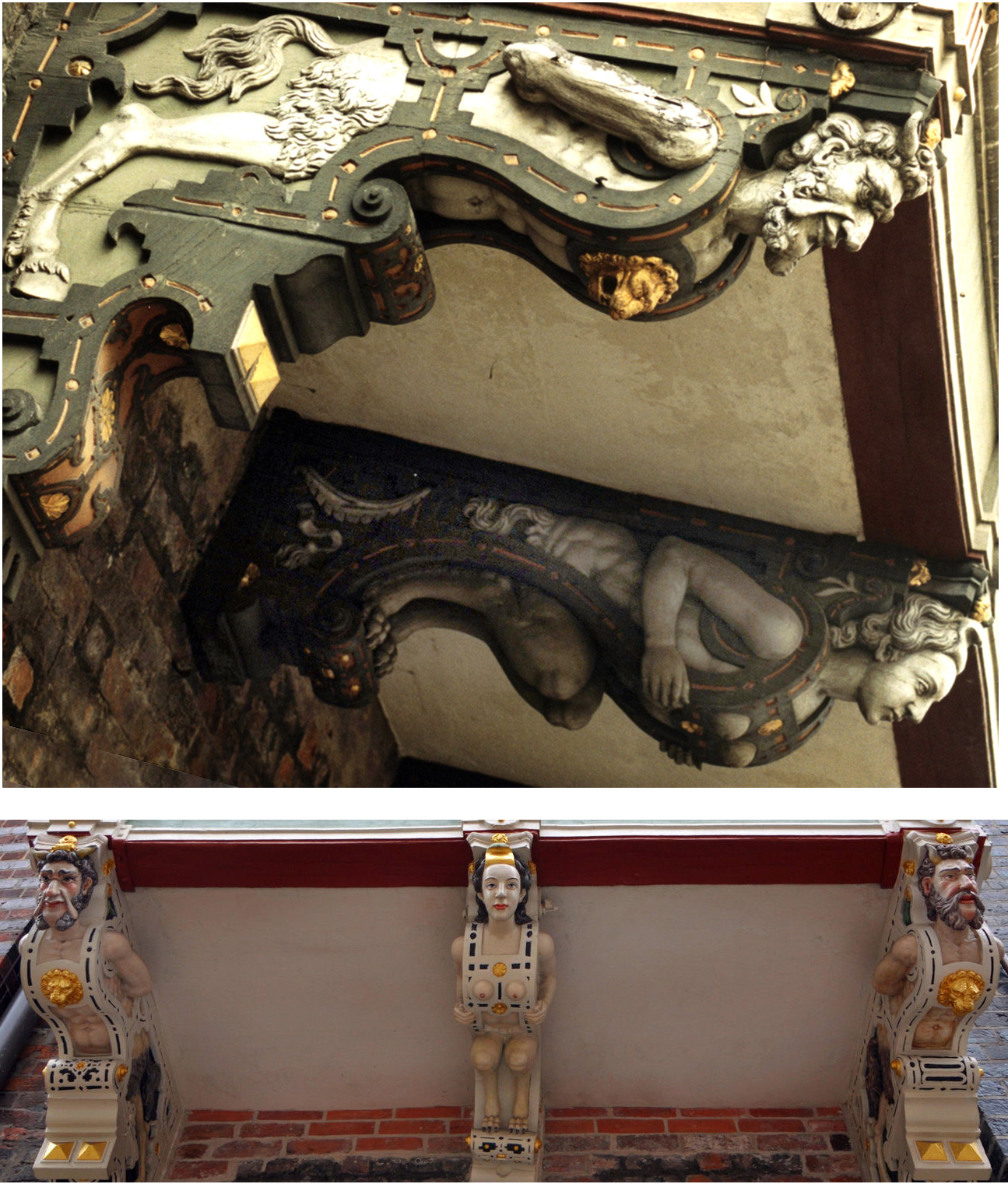 Two views (unrestored and restored) of the balcony volutes (top photo by groenling)